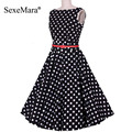 2016 nuevo pin up vestidos 3xl 4xl más tamaño verano de las mujeres retro elegante fiesta informal bata rockabilly 50 s vintage polka dot dress