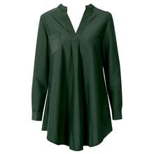 New Fashion Womens Loose Casual Chiffon Blouse Shirt Tops Stylish V-neck Three Quarter  Sleeve Blouses