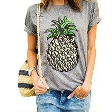 2017 Summer Women T-shirt Pineapple Print Short Sleeve O-neck Tops Tees Casual Cotton T shirt Brand Tshirt Plus Size Tops S-XXL все цены