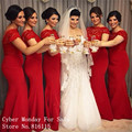 Red Lace Long Bridesmaid Dresses 2017 Custom Made Plus Size Mermaid Bridesmaid Dress Floor Length Wedding Party Gowns Vestidos