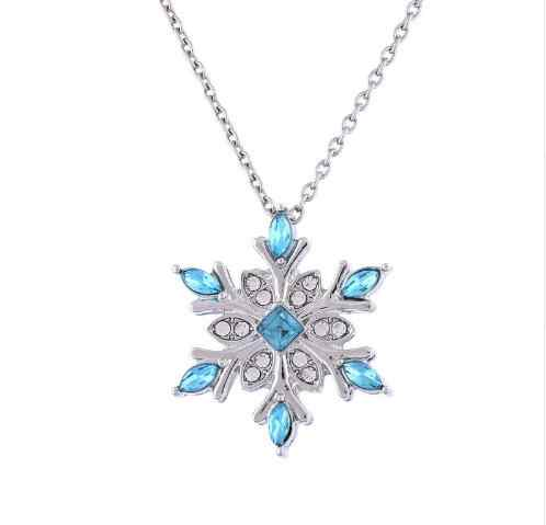 High Quality Hot vintage Blue Crystal Snow flake Flower Silver Necklaces & Pendants Jewelry for Women girl best gift drop ship
