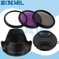 72mm UV CPL FLD Lens Filter Kit Lens Cap Flower Lens Hood For Sony A7 A7II