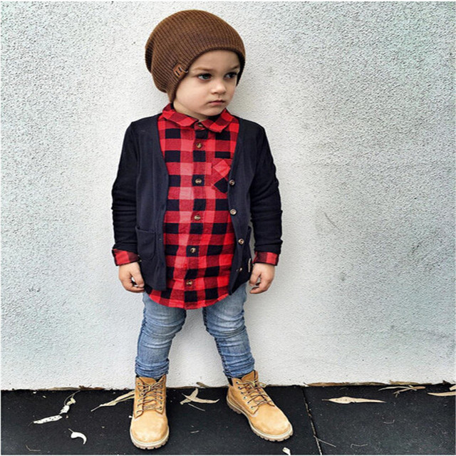 4fb5ac03 Baby Boy Girls Clothing Autumn Winter 2017 Long Sleeve Classic Red Plaid  Shirts Baby Girl Cotton Clothes Tops Toddler Blouse
