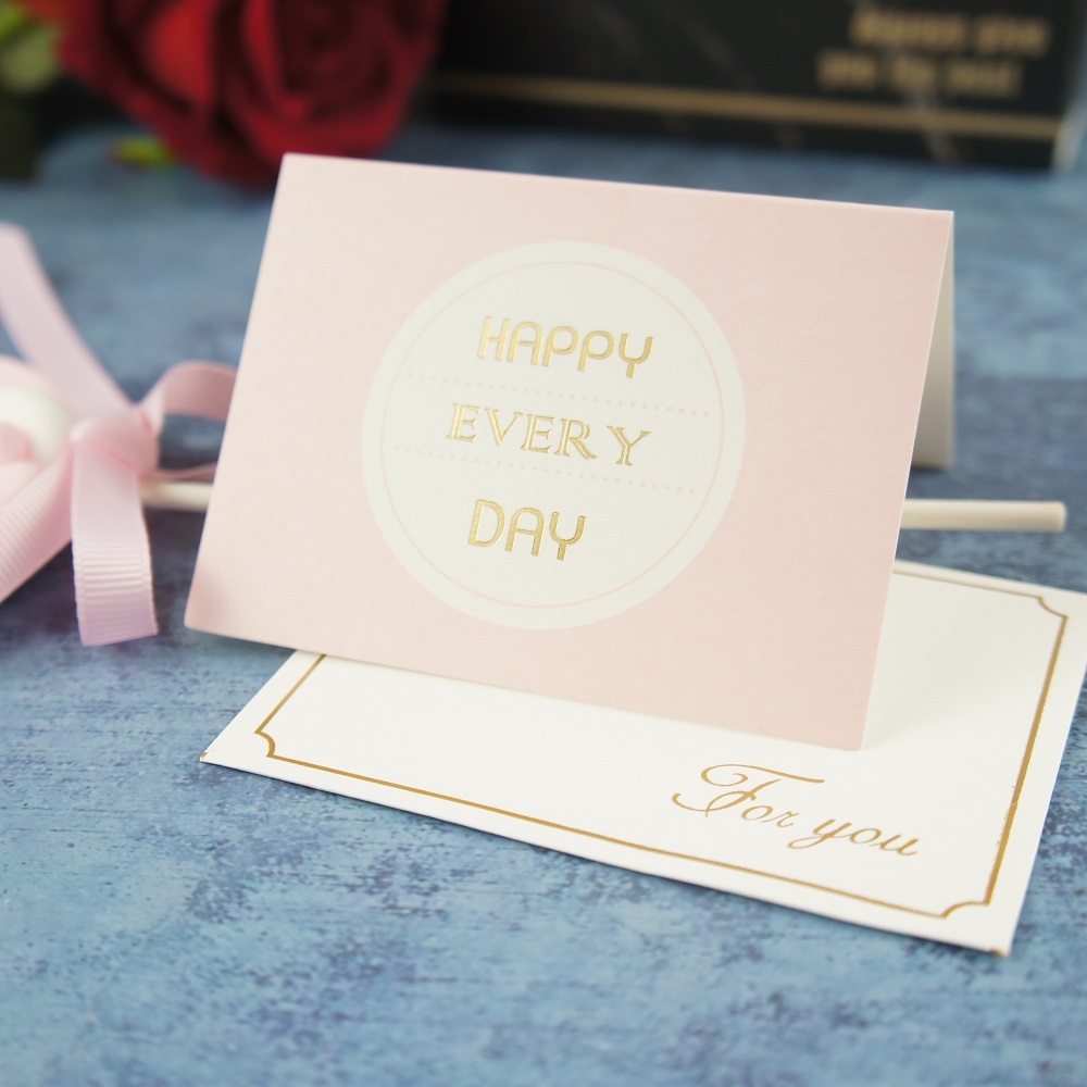 25pcs pink gold happey every day fold Card leave message cards Lucky ...