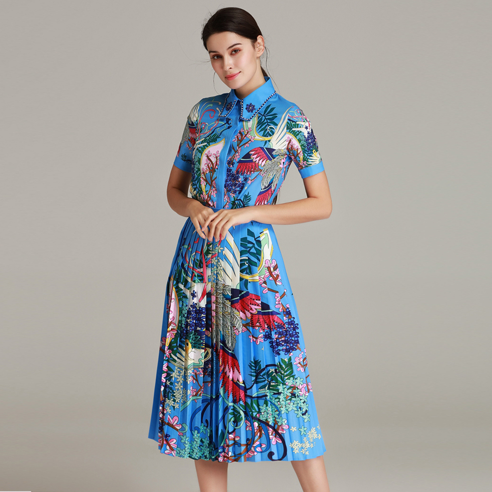 Red RoosaRose New High Quality Runway Designer Women Two Piece Sets 2019 Spring Summer Beads Blouse