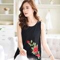 2016 a Primavera Eo Verão elegante beleza mulheres flores bordado I-em forma voile meninas camisolas e tops