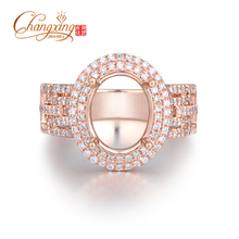 Hot!!! 8x10mm Oval 14k Rose Gold 0.64ct Round Cut Diamond Semi Mount Ring, Free Shipping