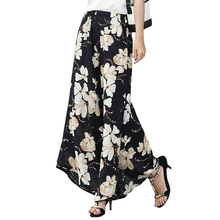 New Women pant 2019 Fashion vintage Floral Print loose Wide leg pants Summer Casual  cotton linen Pants Female plus size plus floral and geo print wide leg pants