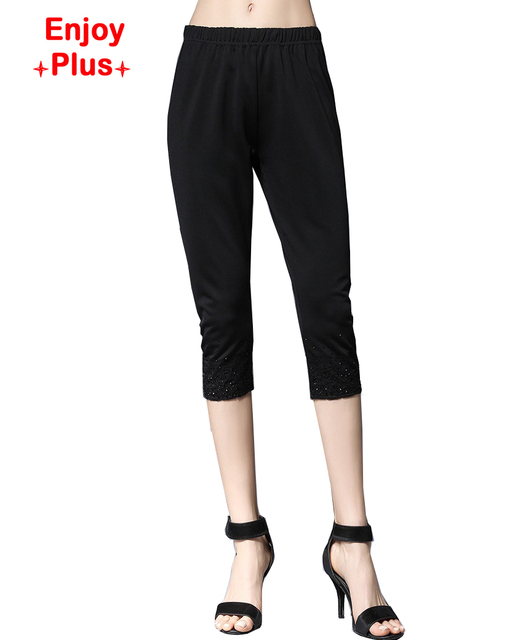 10%OFF hip 94-110cm  XL- 5XL new 2016 fitness black white womens leggings summer large size skinny slim carpri pencil pant lady