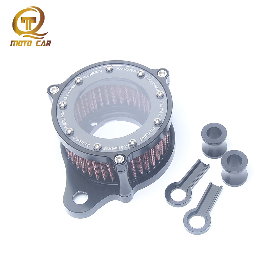 CNC Aluminum Air Filter Motorcycle Cleaner Retro Transparent Glass For Harley Davidsion Sportster XL883/1200 X48 2004--2015 year motorcycle cnc aluminum headlight grill cover for harley sportster xl883 xl1200 2004 2014