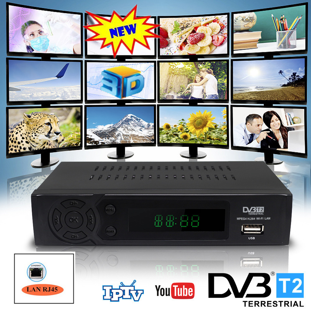Full Hd 1080p DVB T2 TV Tuner Terrestrial Receiver TV BOX With Network RJ45 LAN 3D Interface Youtube IPTV Can Connect WIFI