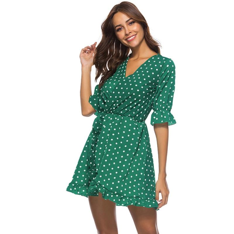 d6f2b8c92fc9 ... Women Polka Dot Dress Vintage Ruffles Deep V Neck High Waist Slit Casual  Mini Shirt Dress ...