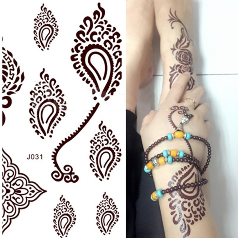 Henna Lace Bracelet Temporary Tattoo Sticker: 1 Piece Brown Henna Lace Tattoo Stickers,Flower Henna Lace