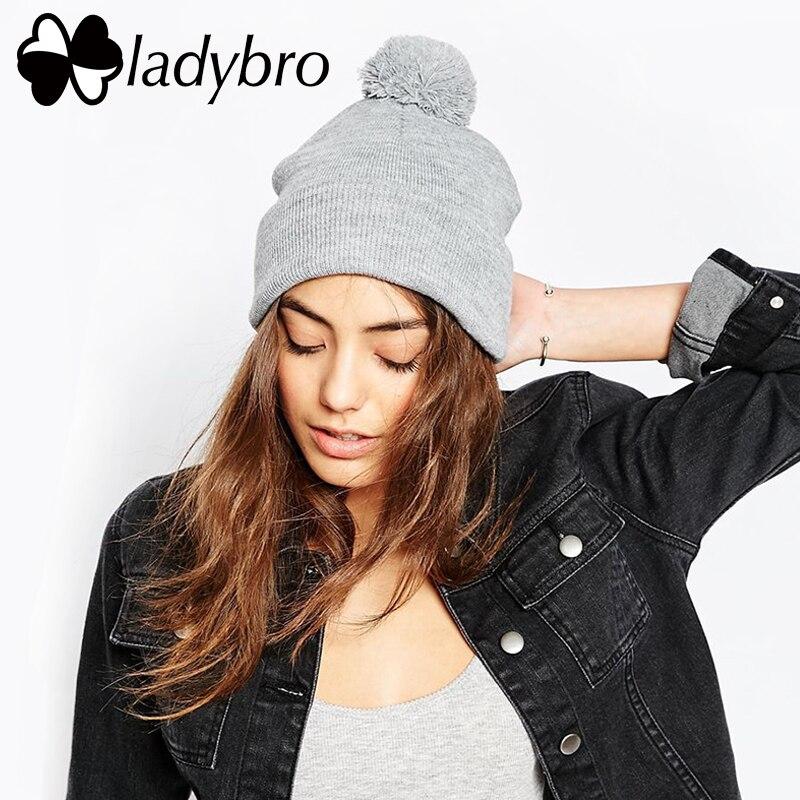 Ladybro Winter Knitted Cute Warm Pom Hat Lady Skullies Beanie For Women Men Cap Fashion Male Female Hat Bonnet Braided Hat skullies