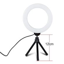 лучшая цена 6 inch Dimmable Cold Warm LED Studio Camera Ring Light Photo Phone Video Light Lamp With Tripods Ring Table Fill Light For Canon