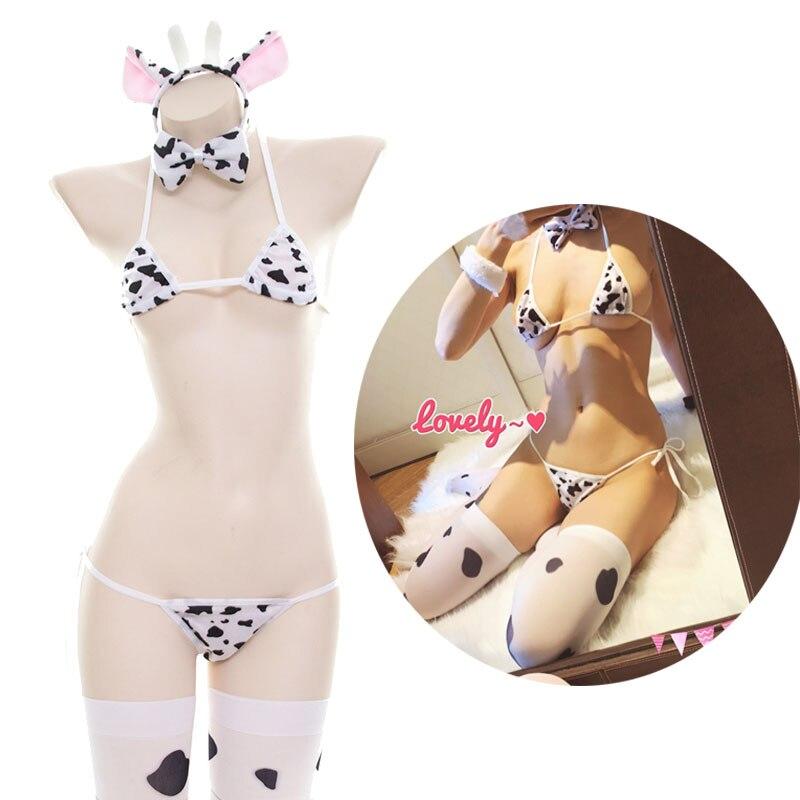 Japanese Erotic Sexy Cow Bikini Lolita Kawaii Bra Panty Set stockings Underwear Anime Cosplay costumes Sleepwear bikini W/ Tail