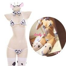 Japanese Erotic Sexy Cow Bikini Lolita Kawaii Bra Panty Set stockings Underwear Anime Cosplay costumes Sleepwear bikini W/ Tail cow pattern bikini set