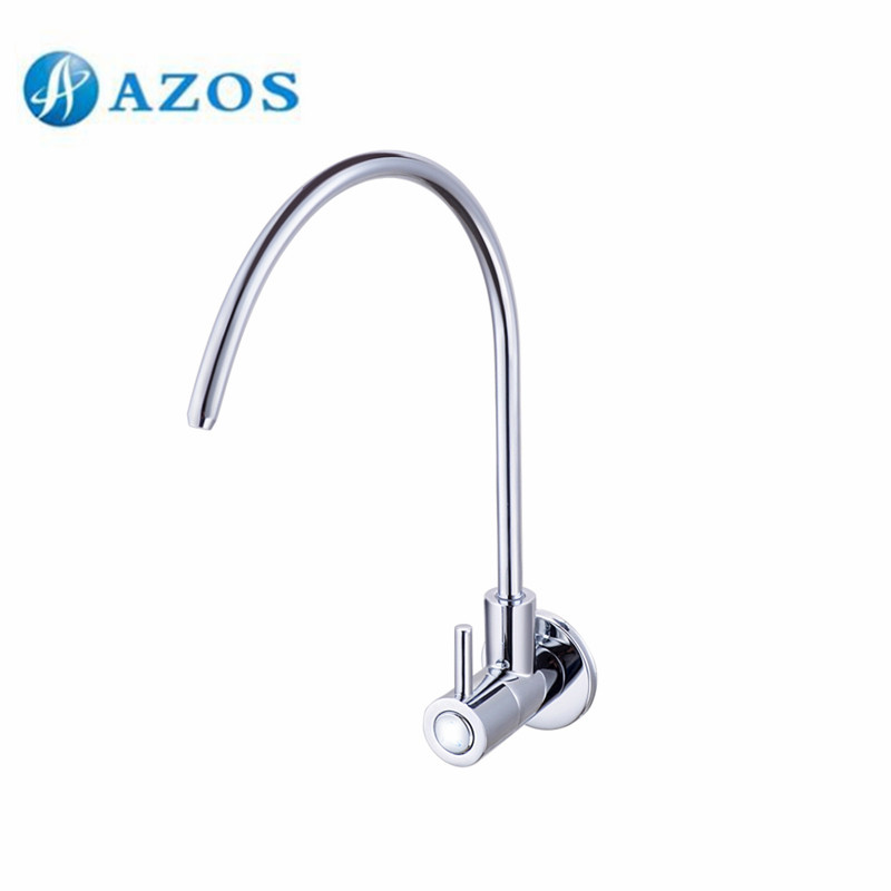 Kitchen Sink Faucet Water Purification Filter Tap Swivel Spout Brass Chrome Polish Single Cold Wall Mount Tap QJS110