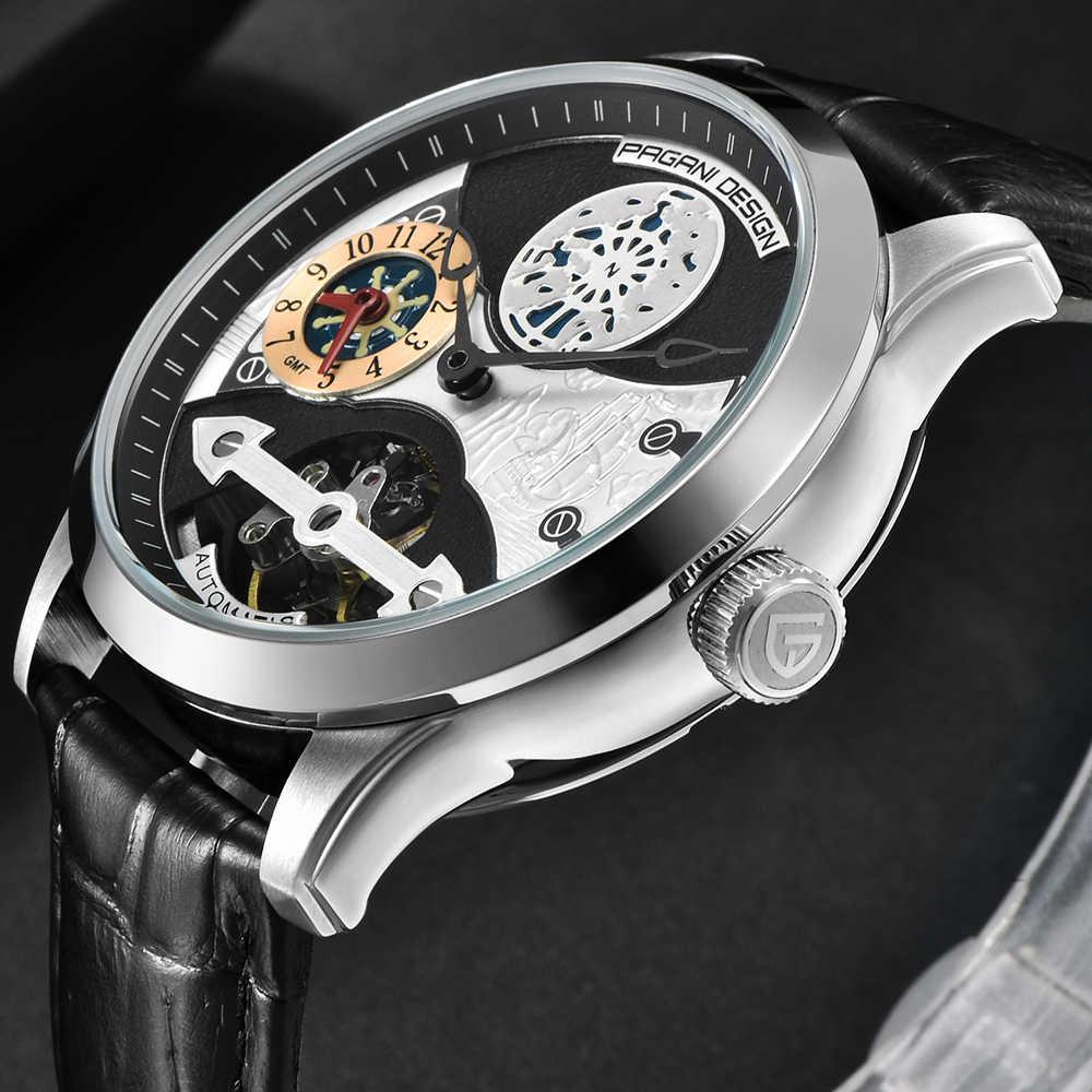 メンズトップ自動機械式腕時計パガーニファッションラグジュアリーデザインのメンズ防水レザーバンド鋼ホイールダイヤル時計