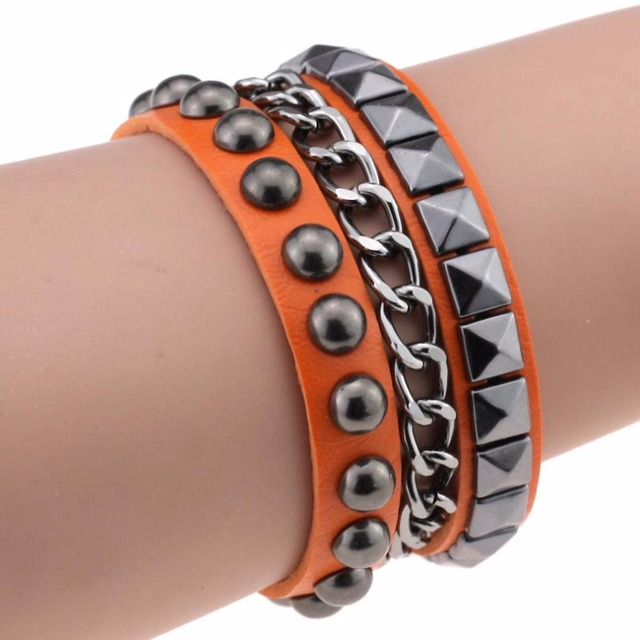 Multilayers Rock Spikes Rivet Chains Gothic Punk Leather Bracelet Bangle 4