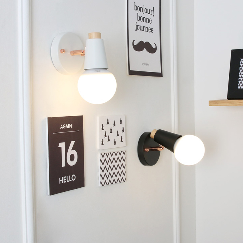 Fashion Nordic Living Room Bedside Wall Lamp Porch Balcony porch Light Solid Wood Creative Light Simple Black And White fashion nordic living room bedside wall lamp porch balcony porch light solid wood creative light simple black and white
