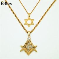Couples Necklace Set Masonic Illuminati Symbol Free Mason And Star Of David Hip Hop Pendant With
