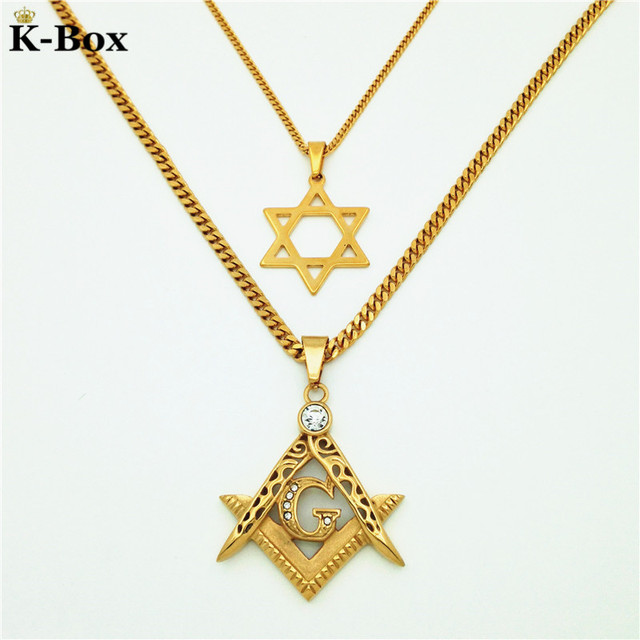 Couples Necklace Set Masonic Illuminati Symbol Free Mason And Star