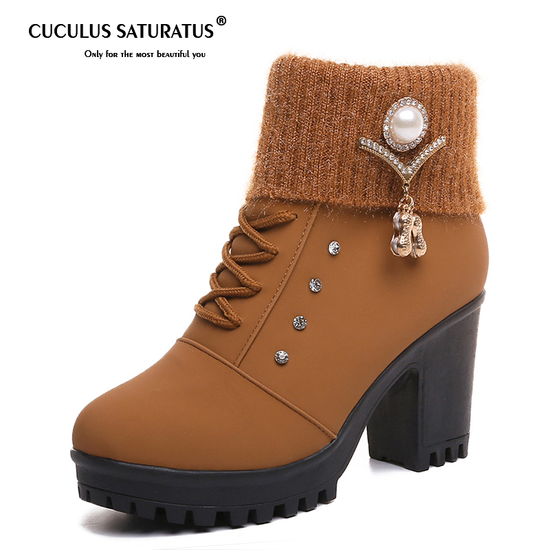 Cuculus Fur Women Ankle Boots Autumn Suede High Heels Boots Ladies Fashion Gladiator Round toe Shoes Woman Size 35-40 1030 cuculus 2018 women boots fashion pu leather round toe ankle boots sexy lace ladies high heels platform shoes woman 331