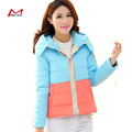 Patchwork  winter women jacket   cotton padded women hooded  short   down Slim lady  outwear  coat YL1287