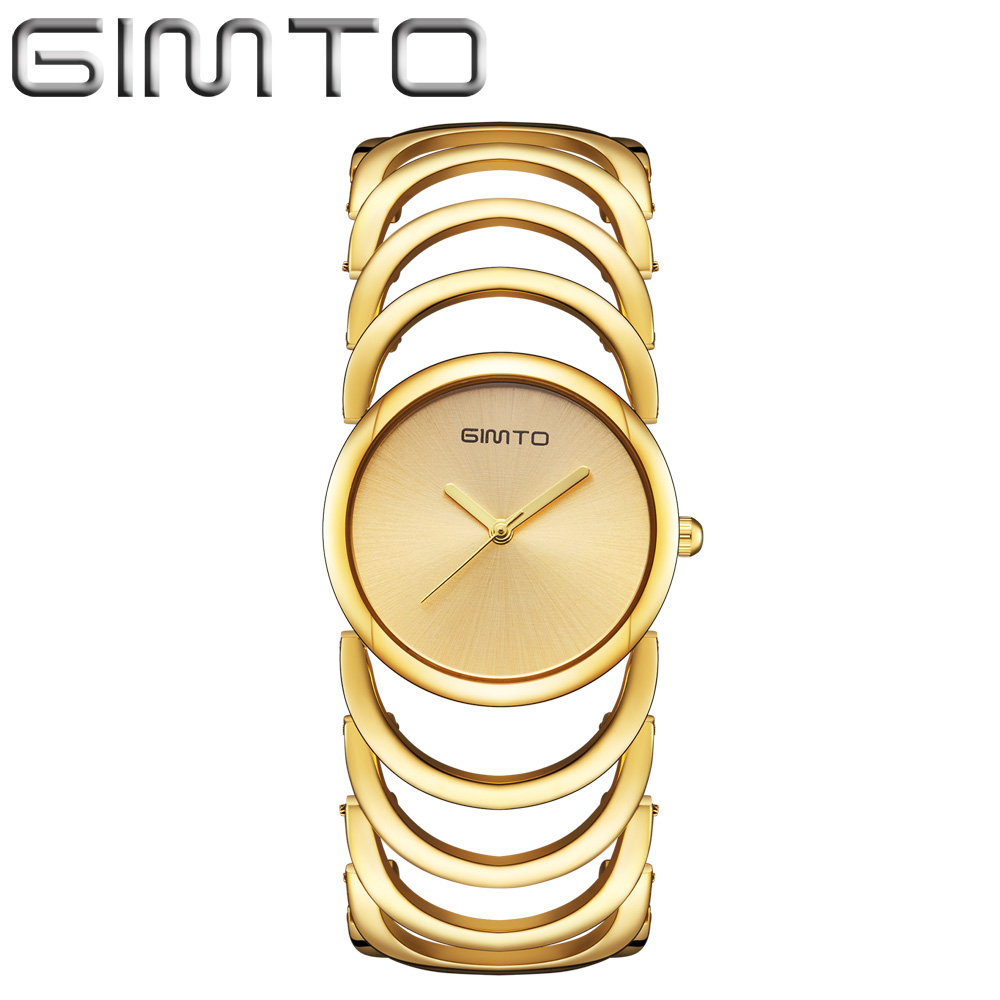 GIMTO Link Bracelet Ladies Watch Women Waterproof Fashion Quartz Wristwatches Luxury Gold Women Watches New Hodinky Women Clock top luxury wristwatches gold silver plated with austrian crystal ladies digital quartz watch waterproof drop shipping