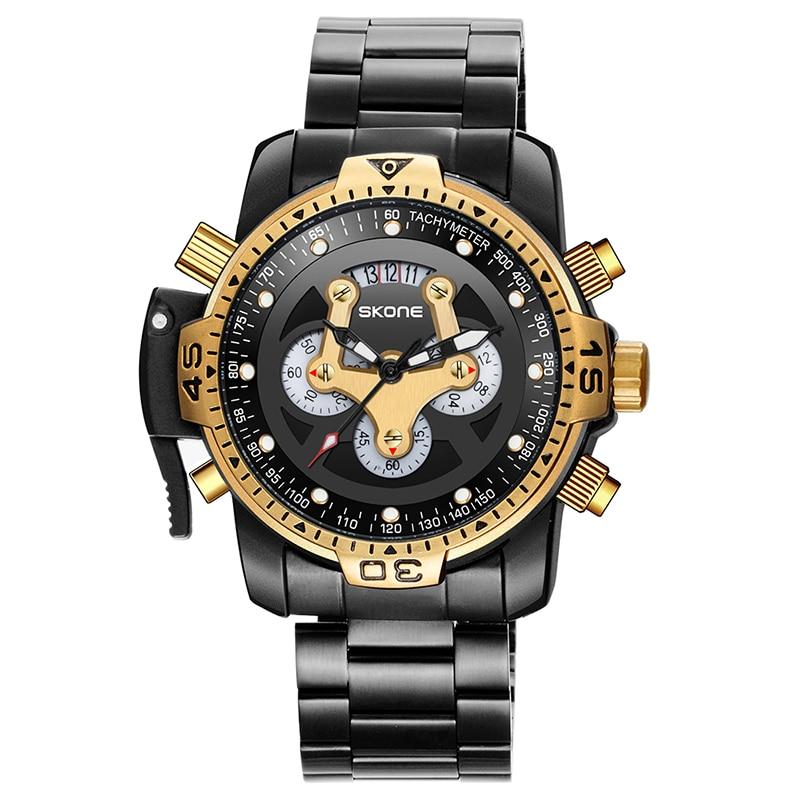 Skone New Luxury Brand Men's Watch In 2020 Stainless Steel Chronograph Quartz Clock Men's Famous Design Special Sports Watch Men