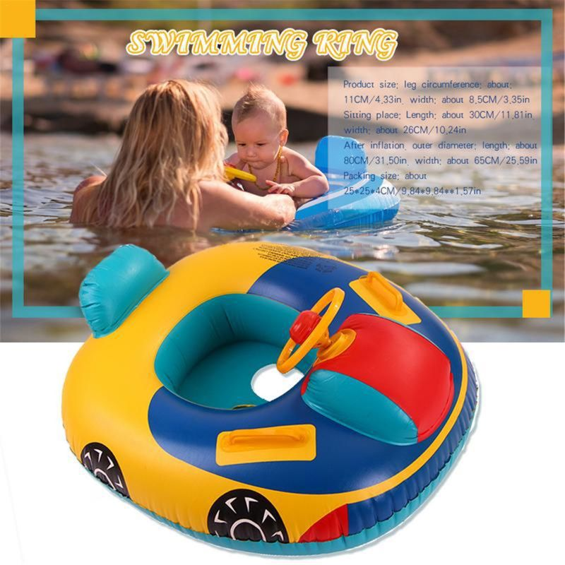 Baby Swimming Pool Float,Inflatable Kids' Swim Car Ring Floats Boat Floaties Water Toys For Boys,Girls,Infant,Toddler Ages 6 To