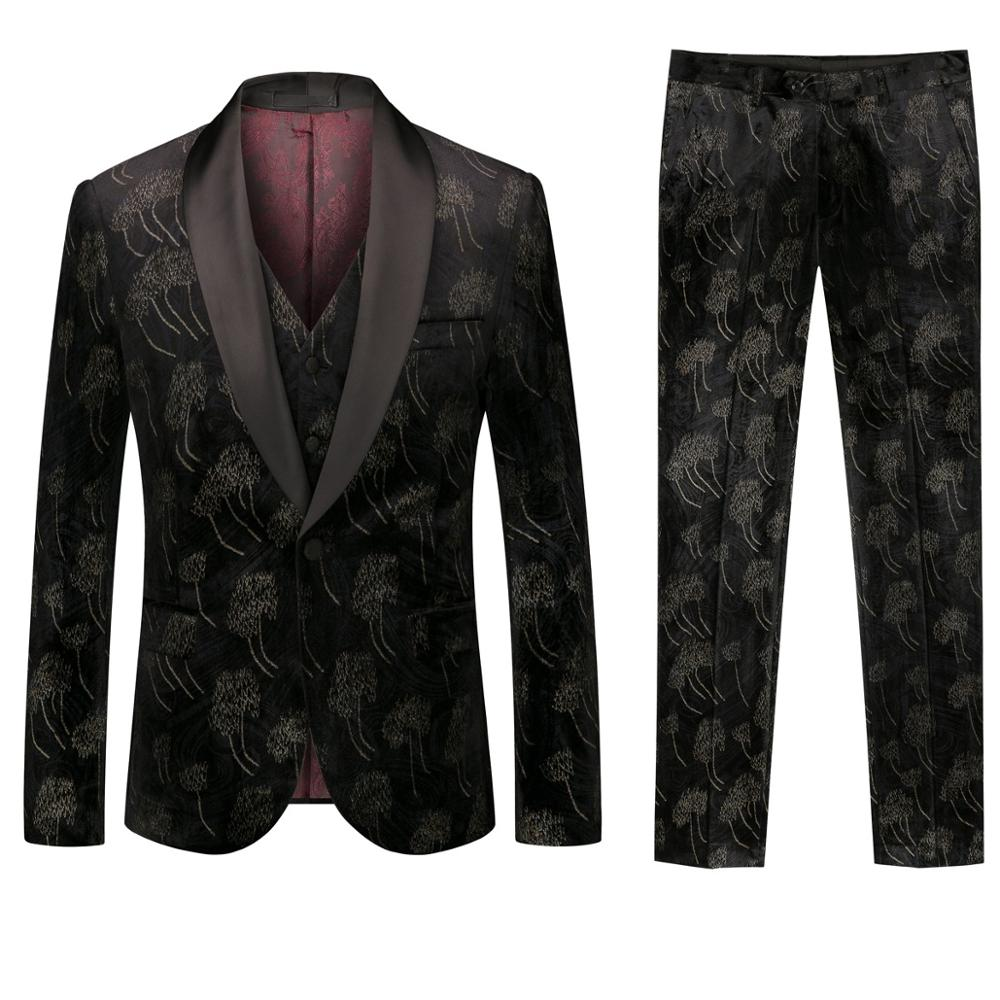 New Design Mens Europe And American Stylish Jacquard Pattern Suits Stage Singer Wedding Groom Tuxedo Costume 3xl Palace Men Suit