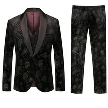 New Design Mens Europe and American Stylish Jacquard Pattern Suits Stage Singer Wedding Groom Tuxedo Costume 3xl Palace men suit pyjtrl royal blue red white jacquard mens classic suit slim fit tuxedo wedding suits with pants groom stage singer costume homme
