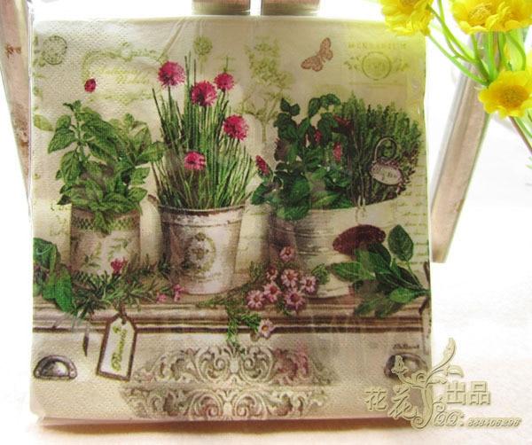 jj7120 pcspack vintage color potted paper napkin party 100 virgin wood - Decorative Paper Napkins