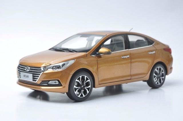 118 Diecast Model For Hyundai Verna Solaris 2016 Orange Alloy Toy Car Miniature Collection
