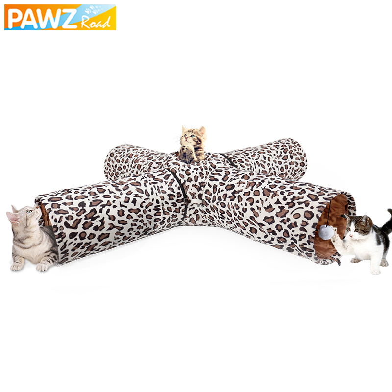 PAWZRoad Pet Chat Tunnel Jouets Pliable 4 Trous Tunnel Jouets Jouer Pour Chat Chaton Multifonctionnel Long Tunnel Imprimé Léopard-bande