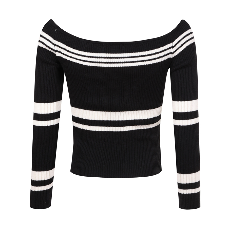Black Striped Pullover womanOff Shoulder Vintage Jumper Sweater Korean  Style Bolero Pull Femme Clothes womanPullovers 60F164-in Pullovers from  Women s ... 305d5ab5e