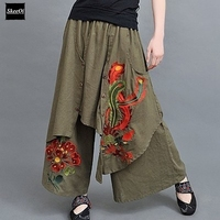 Vintage 70s Ethnic Wide Leg Pants Women Embroidery 2016 New Autumn Spring Summer Chinese Green Black