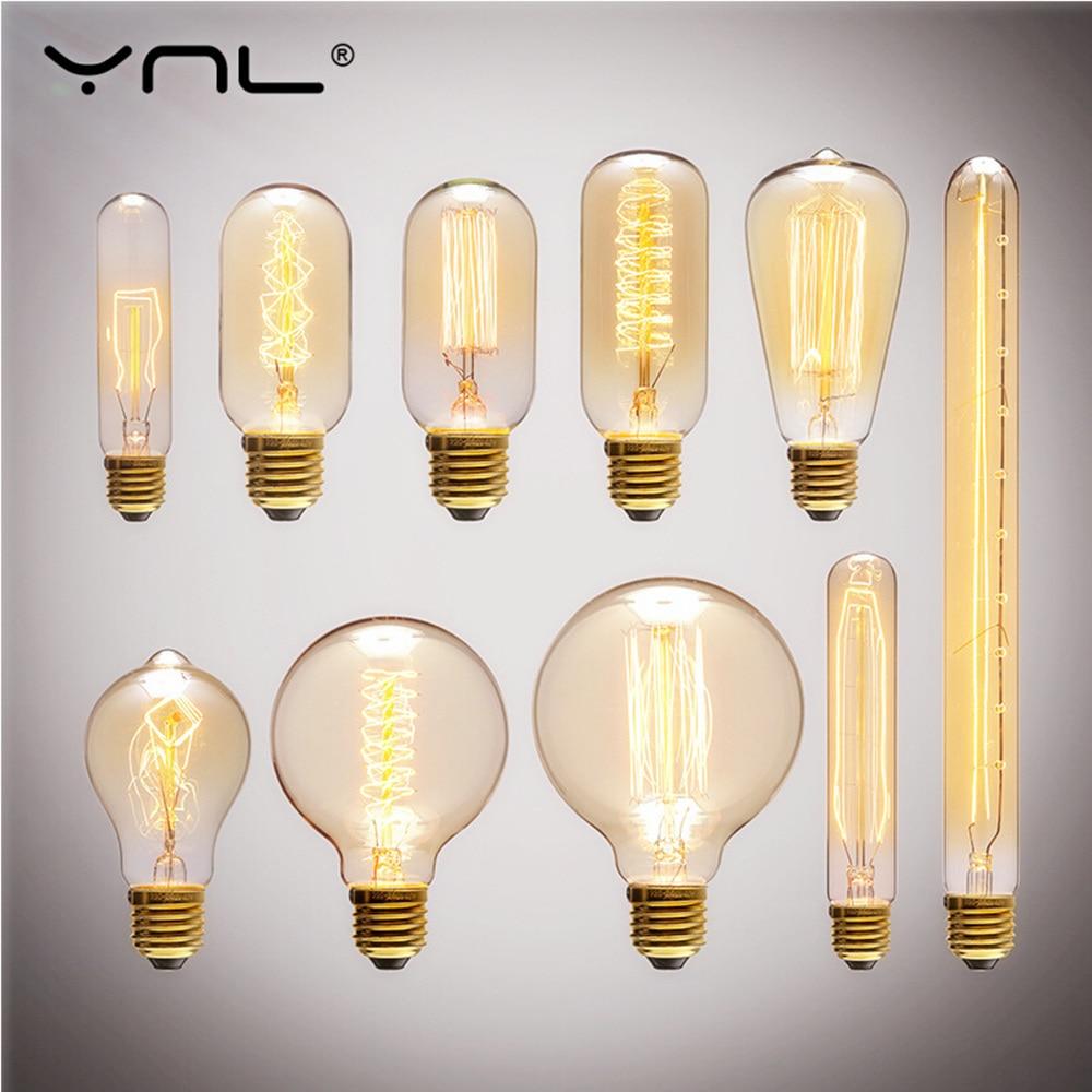 Retro Edison Bulb 40W E27 220V Light Bombilla ST64 A19 T45 G80 G95 T185 Incandescent bulb filament lamp lighting Edison Bulbs