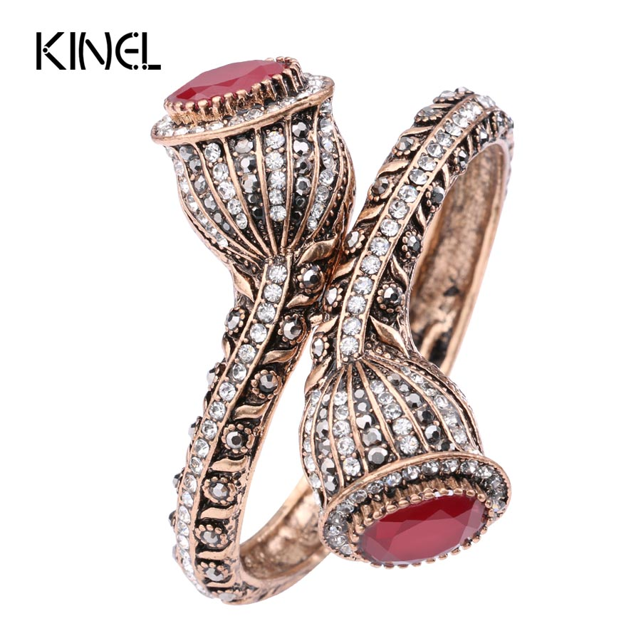 Vintage Bangles For Women Antique Gold Colour Red Resin Lily Flower Party Bracelets Full Crystals Turkish Bijuteria Jewelry