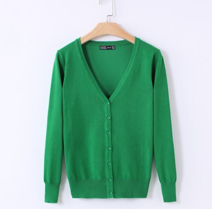 21 Candy Colors Women Long Sleeve V-Neck Knitted Sweaters Cardigans Casual Sweater Coat  ...