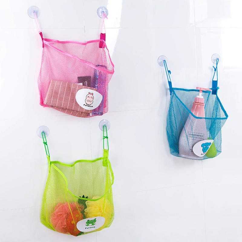 Eco-Friendly Mesh Cloth 1 Pockets Toy Storage Hanging Bag For Baby Time Stuff Bathroom Organizer Holder Suction Cup Bath Basket