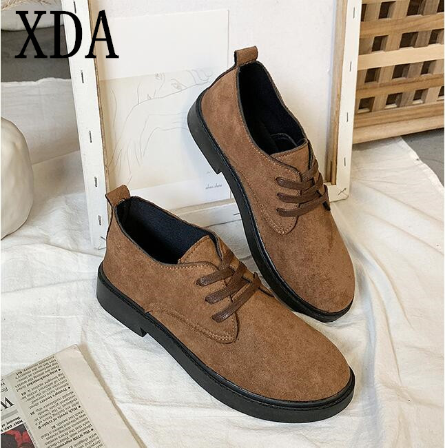 XDA2019 new style Faux Suede single Shoes Woman Platform Oxfords British Style Flat Casual Lace-up fashion Women Shoes E59 1