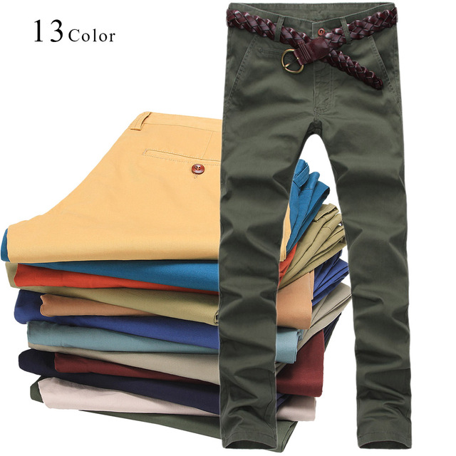 2017 Autumn Mens Casual Solid Pants Brand New Fashion Cotton Slim Men Long Pant Business Straight Trousers Plus Size Pantalon