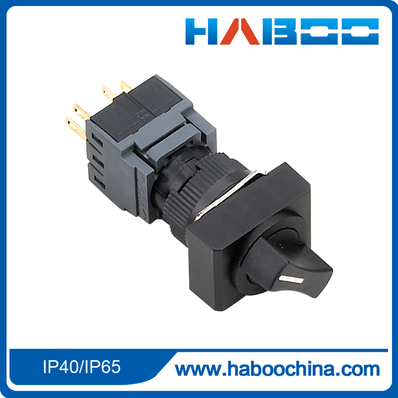 10pcs/lot HABOO dia.16mm 3position selector switch 3NO+3NC pcb type rotary selector switch 5A 250V