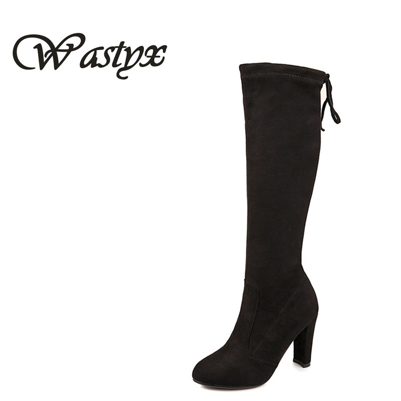 2016 new Flock round toe knee high boots Fashion Sexy high heel autumn winter lace-up women boot long bottine big size 34-43 enmayla winter autumn round toe low heel knee high boots women flats lace up shoes woman rider brown black suede motorcycle boot