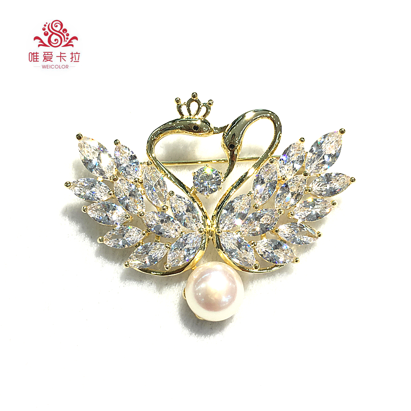 WEICOLOR Beautiful Double Swan Brooch With White Natural Freshwater Pearl