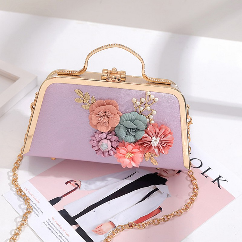 Women Evening Bags Fashion Ladies Clutch Bag Flower Clutches Female Small Beaded Wedding Purses party Shoulder bag