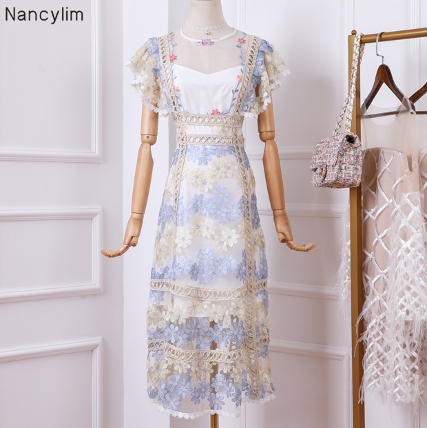 07778855cbfe1 Worldwide delivery flower embroidery lace dress women in NaBaRa Online